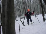 Я и Сергей пытаем применить на спуске горнолыжные навыки